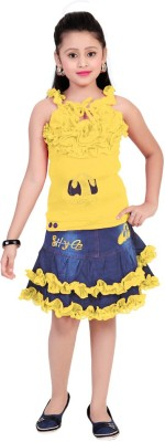 Saarah Girl,s Gathered Yellow Dress