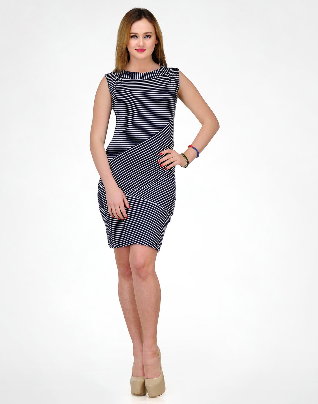 Color Cocktail Womens A-line Dark Blue, White Dress