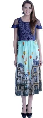 EthnicQueen Women's A-line Purple, Blue Dress