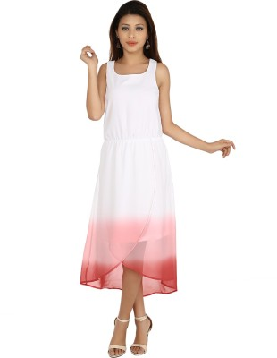 Maggie Women's High Low White, Red Dress