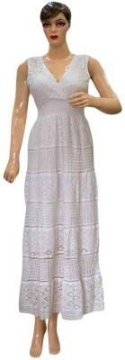 Acceptable Trading Co. Women's Gathered White Dress