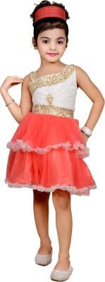 kawal fashion Girl's Gathered Red Dress