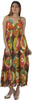Hot Shot Women's Gathered Multicolor Dress