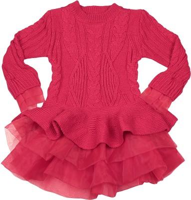 Mauve Girl's Layered Red Dress