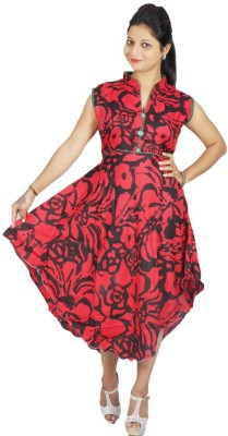 Modrich Women's Fit and Flare Red Dress
