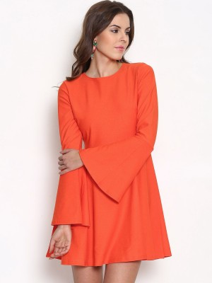 Boohoo Women's Fit and Flare Orange Dress