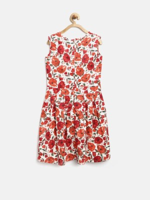 Yk Girl's Fit and Flare White, Orange Dress