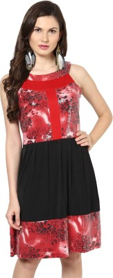 Glam And Luxe Women's A-line Red, Black Dress