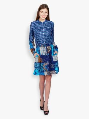 Folklore Women's A-line Dark Blue, Light Blue Dress