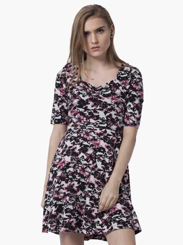 FabAlley Women's Fit and Flare Pink Dress