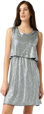 Dressberry Women's Fit and Flare Silver Dress at flipkart