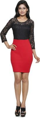 Five Stones Women's High Low Black, Red Dress