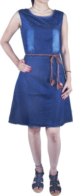 Mitra Creations Women,s A-line Dark Blue Dress