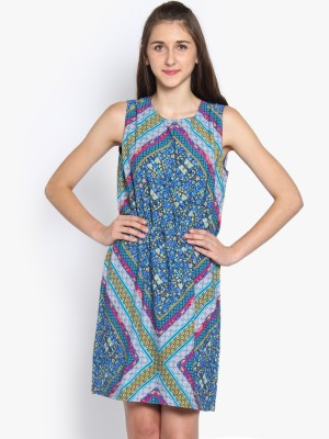 Folklore Women's Gathered Light Blue, Dark Blue Dress