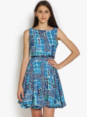 Folklore Women's Gathered Dark Blue, Light Blue Dress
