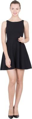 G & M Collections Women's A-line Black Dress at flipkart