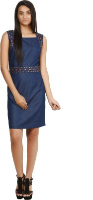 Glitterss Women,s A-line Blue Dress