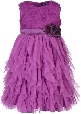 Toy Balloon Kids Girl's Empire Waist, Fit and Flare, Gathered, Layered Purple Dress