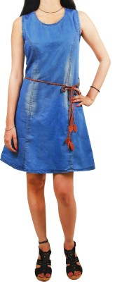 Mitra Creations Women,s A-line Blue Dress