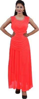 Ajaero Women's Maxi Orange Dress
