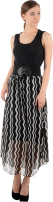 Raabta Fashion Women's Fit and Flare Black Dress