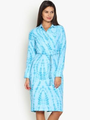 Folklore Women's A-line Light Blue, Blue Dress