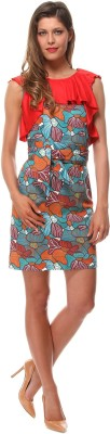Almatrichi Women's Fit and Flare Red, Orange, Light Green Dress at flipkart