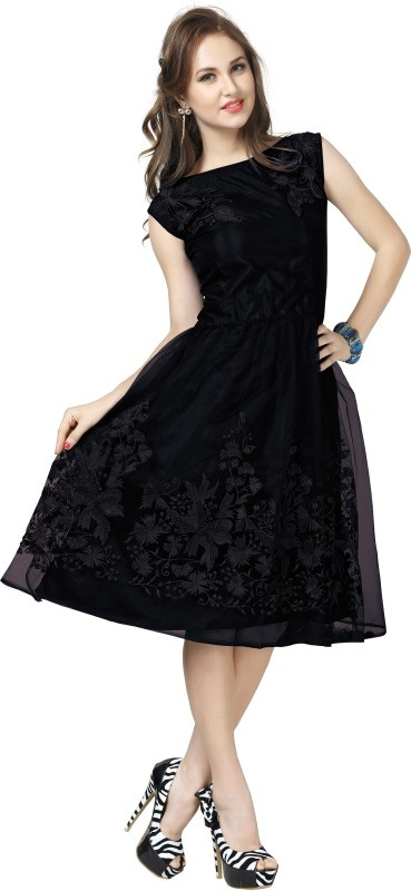 Elevate Women Women's Fit and Flare Black Dress