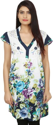 India Inc Women's A-line White, Blue Dress