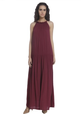 Vero Moda Women's Gathered Maroon Dress at flipkart