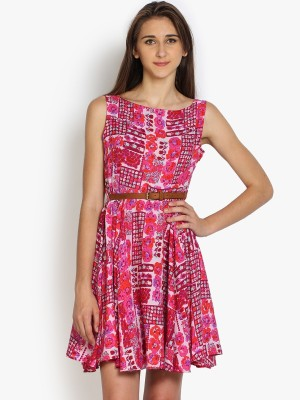 Folklore Women's Gathered Orange, Pink Dress
