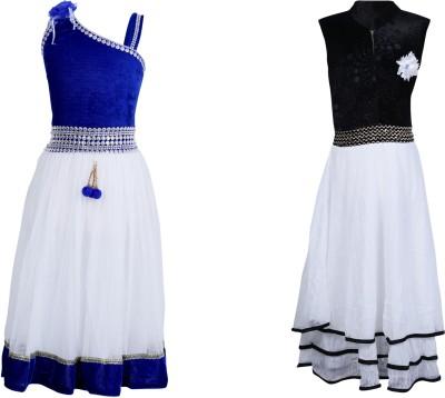 Crazeis Girl's Layered Blue, Black, White Dress