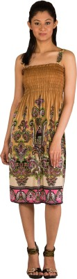 Modo Vivendi Women's Gathered Brown Dress