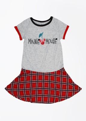 Disney by Genes Girl's Mini/Short Casual Dress(Multicolor, Half Sleeve) at flipkart