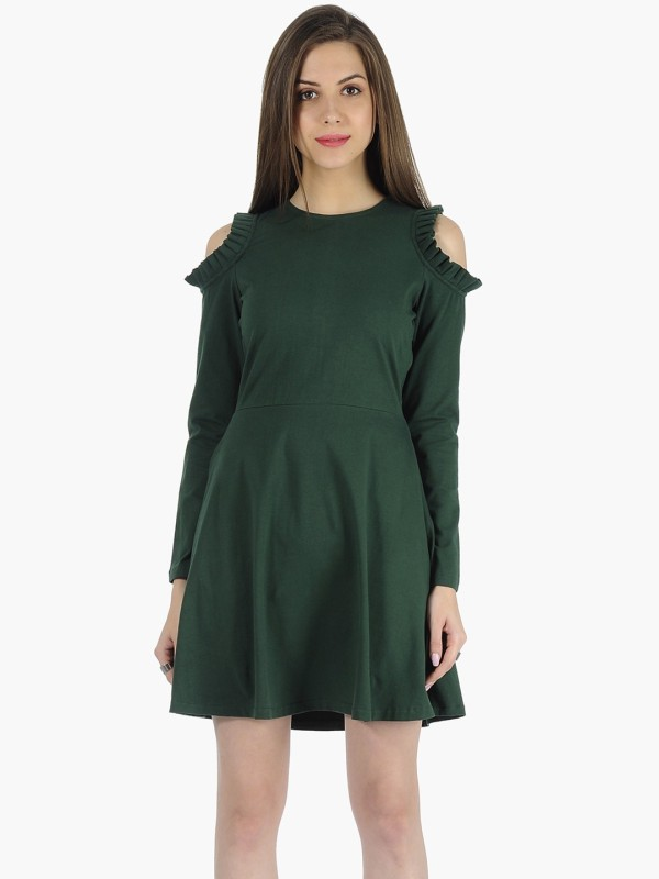 FabAlley Women's Fit and Flare Green Dress