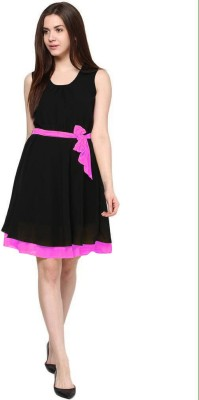 Indicot Women's A-line Black, Pink Dress