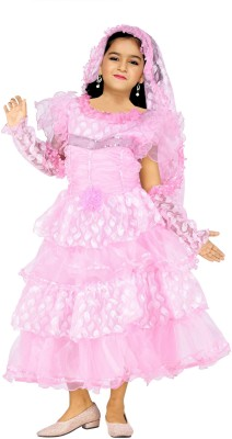 JBN Creation Girl's Gathered, Bubble Pink Dress