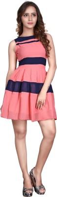 Viva N Diva Women's A-line Pink, Blue Dress