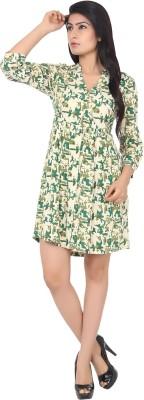 Panchvati Women's A-line Green Dress