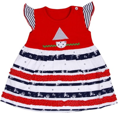 Munna Munni Kids Apparel Baby Girl's A-line Red, Dark Blue Dress
