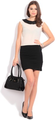 Elle Women's Sheath Black, Beige Dress at flipkart