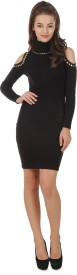 Texco Women's High Low Black Dress