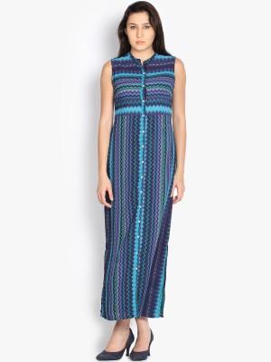 Folklore Women's Maxi Light Blue, Purple Dress
