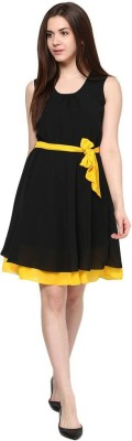 Indicot Women's A-line Black, Yellow Dress