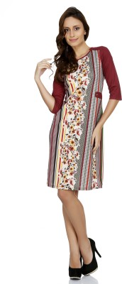 109F Women's A-line Maroon Dress