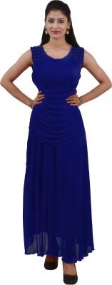 Ajaero Women's Maxi Blue Dress