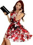 Adorn Fashion Women's Gathered Red Dress
