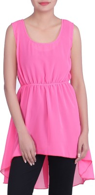 Indicot Women's High Low Pink Dress