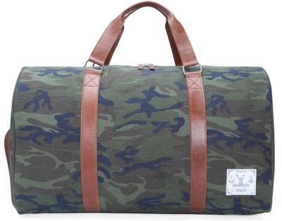 Bareskin CAMOFLAGE CANVAS / TAN LEATHER DUFFLE BAG 20 inch/50 cm
