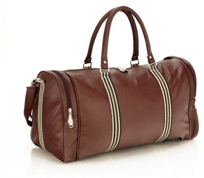 Mboss Faux leather Unisex Round Brown Multi Small Travel Bag - Medium(Brown)